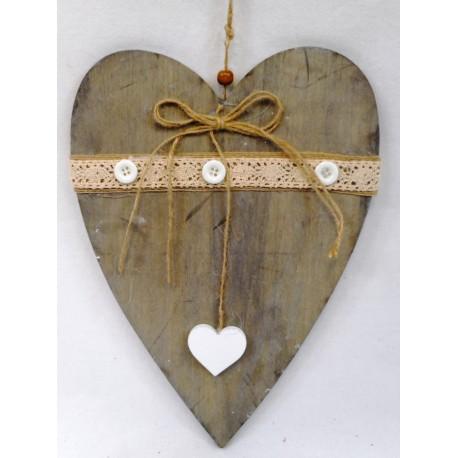 5093 Srdce dřevo s krajkou 27cm